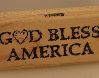 God Bless America Rubber Stamp