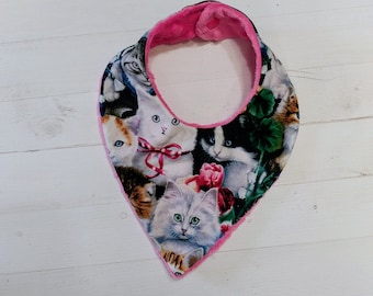 Kitten printed Bandanna baby bib for girls with soft pink mink fabric, Cotton and Mink baby bibs