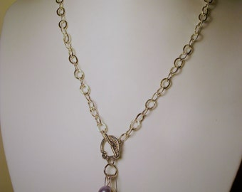 Necklace with Silver chain and pendant with cultivated beads