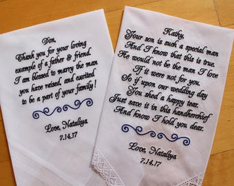 Parents of the Groom gift from the Bride-Wedding Handkerchief-EMBROIDERED-CUSTOMIZED-Wedding Hankerchief-Wedding Gifts,Hankie,LS0F38SV211