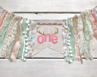 Floral boho lace highchair banner