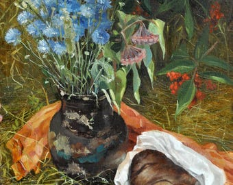 Still life Painting Oil Flowers and Herbs Summer artwork Oil painting