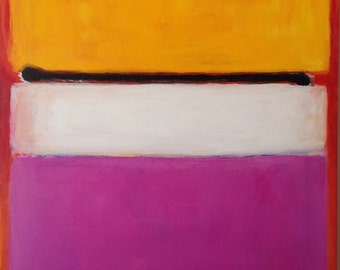 Hand Painted Mark Rothko Inspired White Center Painting Reproduction On Canvas