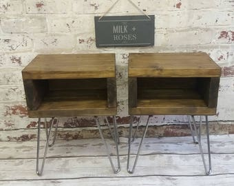 A PAIR of Rustic handmade bedside tables | side tables | industrial night stands | small tables with retro hairpin legs