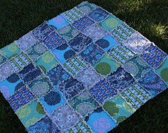 Handmade Baby Rag Quilt, Amy Butler Cameo, Aqua, teal, lime, grey, olive, Perfect for a Baby Shower Gift, Gender Neutral