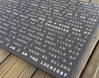 The Luckiest Song Lyrics on canvas, Ben Folds, anniversary gift, first dance, music gifts