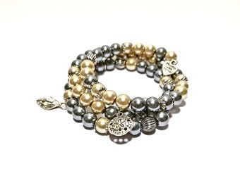 Pearl Bracelet - Oceanic Feel, Blue/White Pearls with Charms