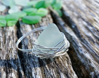 Nested Sea Glass Wire Wrapped Ring | Sea Glass Ring | Wire Wrapped Ring | Seafoam Sea Glass | Green Sea Glass | White Sea Glass | Bird Nest