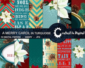Christmas Carols In Turquoise & Red - Digital Paper Collection 12x12