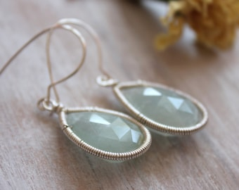 Aquamarine Drop Earrings-Dangle Earrings -Blue Jewelry-  Aquamarine Jewelry -Birthstone Jewelry