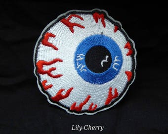 Embroidered patch fusible 7cm blue eye skull pinup rockabilly eye ball x 1