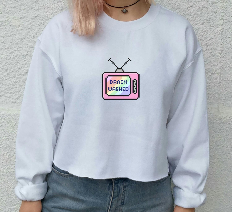 brainwashed pixel tumblr tv sweater indie grunge festival
