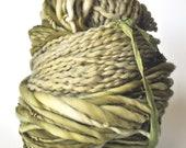 Handdyed Yarn, Green, Soft, Rich Color, Bulky, Thick n thin, Soft, Wool, Wall hanging, Knitting, Weaving, Scarf Yarn, Yospun, Fiber