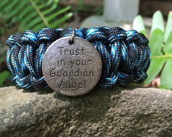 "Word Charm Paracord Bracelet,charm says""Trust in your Guardian Angel"" , words with wisdom"