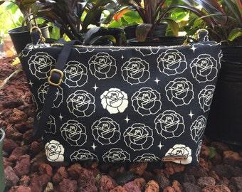 Dusk Rose Crossbody Bag, 100% Organic Cotton, Canvas Fabric, Black adjustable strap, Metal Zipper