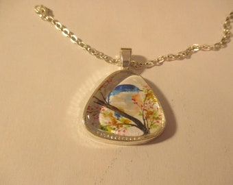 Blue Bird Watercolor Pendant or Scarf Slide, scarf jewelry, scarf ring