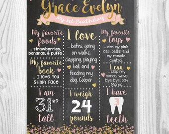 Pink and Gold Themed Custom Chalkboard Sign
