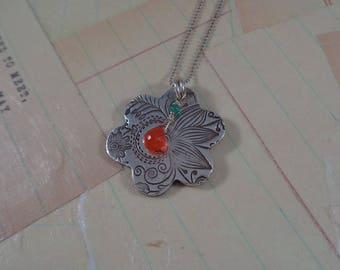 Sterling Silver and Carnelian Flower Necklace