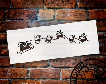 "Eight Tiny Reindeer Art Stencil- 8"" X 3""- SKU:STCL856_1"