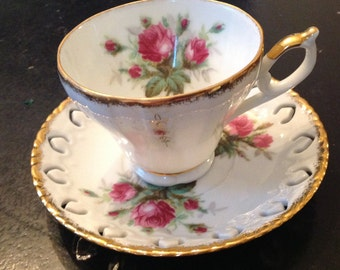 Stunning Grantcrest Footed Teacup and Matching Saucer Deep Pink Rose Reticulated Saucer Gold Trim Finely Detailed