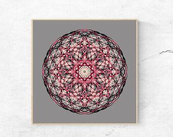 Mandala print, Mandala wall art, Printable mandala art, Digital download art, Large mandala print, Mandala art print, Mandala wall hanging