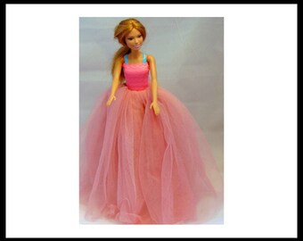 """11.5"""" Doll/pink/netting/elastic top/wrap/ball gown/Barbie/doll/gift/little girl/doll clothing/fashion/dress/doll clothes/dress/fashion doll/"""