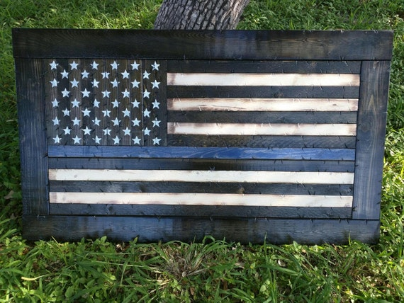 Framed Thin Blue/Red Line American Flag