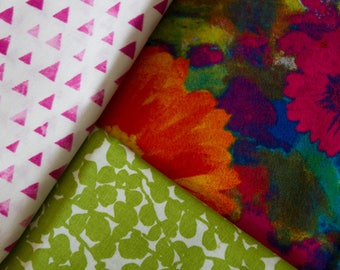 """Made To Order, Handmade Baby Quilt, Flannel Baby Girl Quilt """"Flowers and Color"""""""
