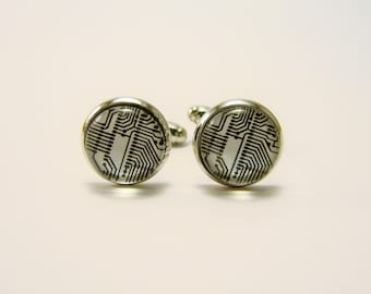 CIRCUIT BOARD Cuff Links -- Computer technology accessory for him and her, Black, white and silver cuff links, Electronic geekery