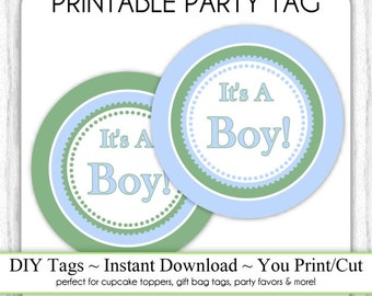 Instant Download - Blue and Green Baby Shower Printable Party Tag, Cupcake Topper, DIY, You Print, You Cut