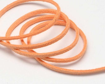 3 Yards Suede Cord Lace Faux Leather Cord - SALMON - 3 mm Width - Jewelry Making Beading Craft Thread String