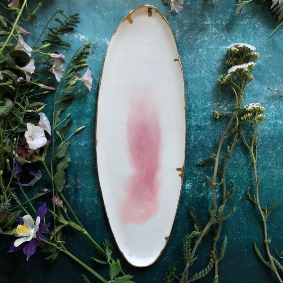 Watercolor porcelain platter with 23K gold rim