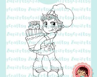 Digital Stamp, Lucas, Cute Cook, Scrapbooking Digital Stamp, Instant Download, Zuri Artsy Craftsy