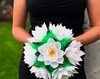 Crepe paper water lily wedding bouquet