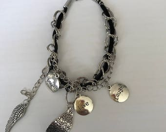 Leather chain link bracelet with charms