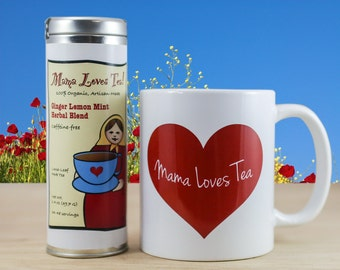 Mug and Herb Tea in a Tin Gift Set, 100% Organic, with Gift Wrap Option for Valentine's Day, Mother's Day, Birthday, or Holiday Gift Giving