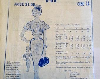 RARE: Modes Royale D-69 Womens 60s Daytime Dress Pattern B34
