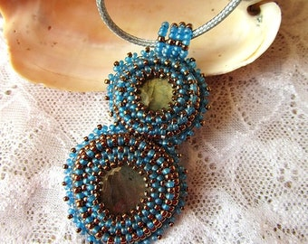 Labradorite Necklace Embroidered Pendant Necklace Beaded Embroidery Jewelry OOAK Ready to ship