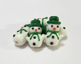 Christmas, Lampwork, Glass, Snowman, Handmade, Green, Scarf, Bracelet, Earring, Beads, Jewelry, Beading, Supplies