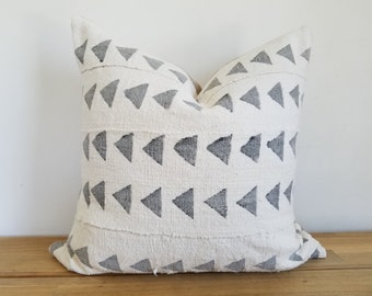 Authentische Kissenbezug Baum, Off-White/Creme, grau Dreiecke