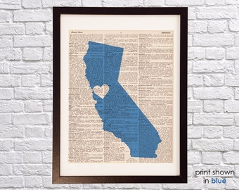 San Francisco Dictionary Art Print - California Art - Print on Vintage Dictionary Paper - I Heart San Francisco - Pink, Blue, Red, Any Color