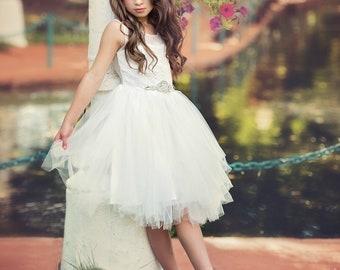 White Flower  girl dress, Flower girl dresses, Lace Dress, baby dress, rustic flower, tulle dress, Communion dress, girls fancy dress, tutu
