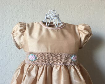 Size 2 Hand Smocked Girls' Dress - Gold with Rose Accent Flowers