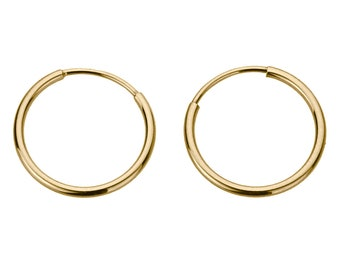 14K Gold 1.25mm Thin Continuous Endless Hoops Plain Round Tube Hoop Earrings(DLNHP0125YG)