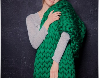 Chunky Birthday gift Hand Knit Blanket Bulky Throw Home Decor Anniversary Gift Merino Wool Knit Throw Hand Knit Blanket Gift Mother's Day