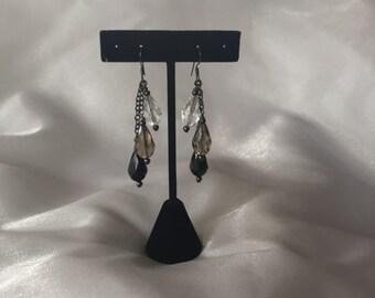 Chandelier Earrings, Gunmetal Fishhook Earrings, Vintage Glass Earrings, Black Earrings, Rocker Earrings, Earrings, OOAK, Handmade, SDJ2012