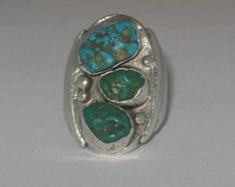 Vintage Silver Ring with Turquoise Nuggets