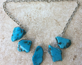 Freeform Turquoise Statement Necklace