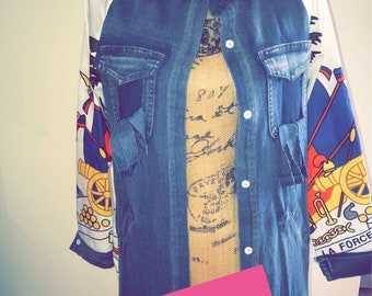 Vintage coat of arm long denim jackets