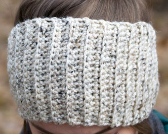 Lined Hat Alternative for Natural Curly Hair - Satin Lined Headband - Cream Wool Head Warmer - Turban Style Messy Bun Hat